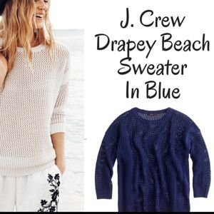 J Crew Drapey Beach Preppy Sweater Blue XXS EUC